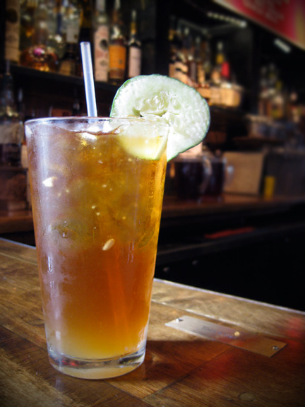 I was a Pimm's virgin and now I'm not. Here is a Pimm's Cup from DBA BBQ: Pimm's #1, lemonade, and Boylan's ginger ale garnished with a cucumber. So, so good.  Photo credit: Lush Lady