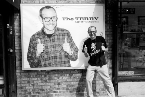 Me in front of the ad for The Terry… my line of glasses available now at Moscot in NYC!