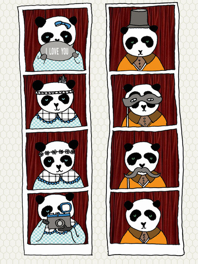 (via Panda Photobooth Art Print by Andrea Courchene | Society6) panda photobooth by Andrea Courchene more of andrea here: etsy blog facebook