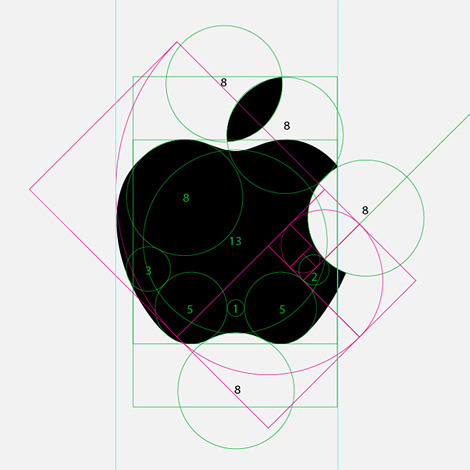 corealiscreative:  Apple logo | Rob Janoff I hadn't realized Fibonacci was used in the Apple logo, am I late to this party?