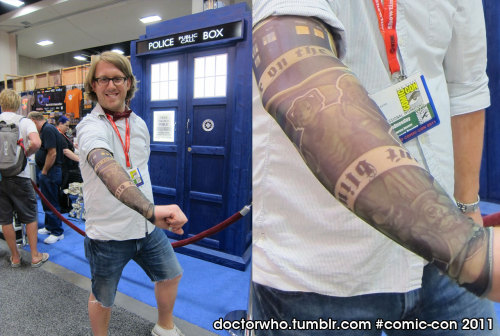 Doctor Who tatt-Who Sleeve Giveaways at Comic-Con This is one of our Comic-Con 2011 exclusives (Doctor Who tatt-Whos), inspired by all the fans' wild DW tattoos over the years, especially the ones we got in the Where's the TARDIS contest. We'll be giving them out each day at the BBCA booth (#3629). Fans in attendance should definitely swing by and grab 'em.