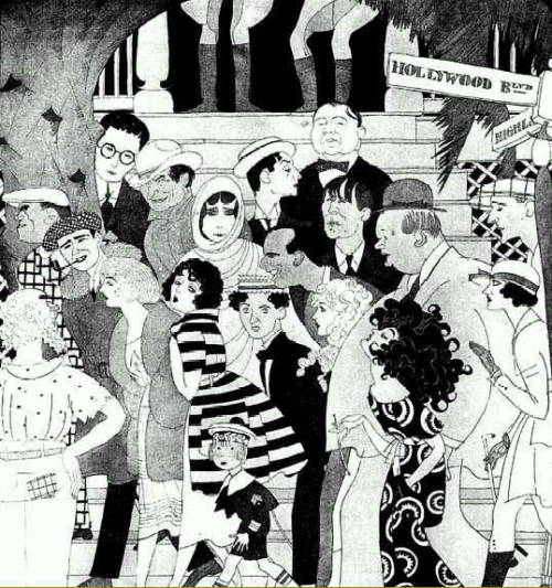 "Ralph Barton sketch of silent movie stars - ""When the Five O'Clock Whistle Blows in Hollywood"" including Douglas Fairbanks, Buster Keaton, Bebe Daniels, Mary Pickford, Rupert Hughes, Harold Lloyd, Bill Hart, Wallace Reed, Gloria Swanson and more (1921)."