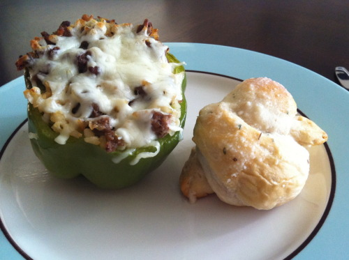 "Stuffed Green Peppers with Parmesan Knots Ok - I am not a cook. I enjoy the feeling of accomplishment at the end (especially when it the food looks decent), but the process does not make me cheer. However, my husband and I are trying to do better about cooking for our family (individually or together). Here's a review of our latest meal. Rating: Heather - 4 out of 5 stars Tommy - 3 out of 5 stars Kids - 2 out of 5 stars Source for Stuffed Green Peppers  ""We had a lot of extra ""stuffing"", but baking it in a baking dish makes great leftovers. We used a bit more spices and we shouldn't have. The kids thought it was too spicey. Also substituted ground turkey for the sausage. Overall, would try again using the sausage for more flavor and spice as called for. Good, healthy low-glycemic meal.""  Source for Parmesan Knots  ""The mix you spread on top of rolls tastes similar to Little Caesar's Crazy Bread. We will definitely make these again!""  (Note: I'm using Evernote to organize our recipes. It makes it easy to make a grocery list and to cook from using a laptop (or tablet if you have one) in the kitchen.)"