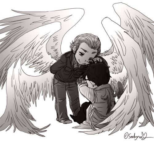 "sadynax:  Fast SPN - Gabriel & Castiel pic :""D Cas is sad and Gabe is trying to cheer him up or something like that :P"