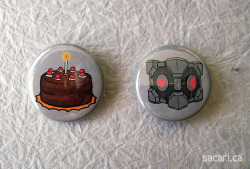 Portal button set, made from my own drawings of the Cake and the Companion Cube!! :D For sale on Etsy and Zibbet ❤  Now I'm going to go off and melt because of the heat, holy cow it is HOT here D:
