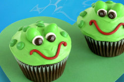Chocolate Cupcake with Green Vanilla Frosting, Green M&M's, Brown M&M's, and Green Peanut M&M's.