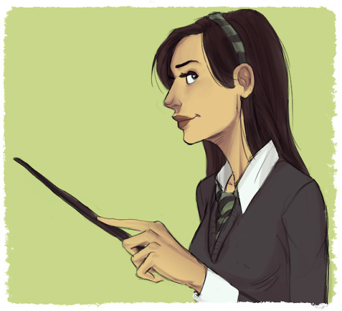 Oh Tumblr, you and your making me want to draw all the Glee/HP crossovers.  I feel like I haven't drawn in forever but here's some Slytherin Santana just for funsies.