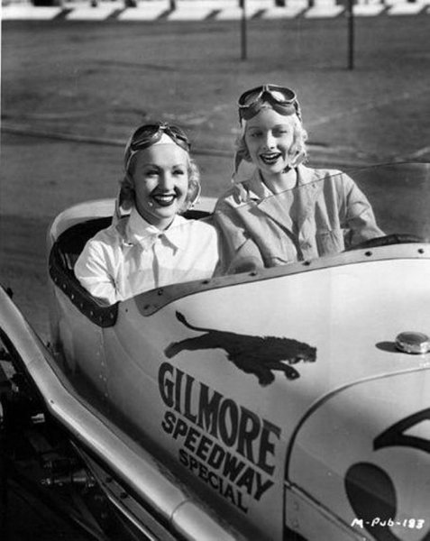 Betty Grable and Lucille Ball at the Gilmore Stadium midget car raceway in Los Angeles, California - c. 1930s