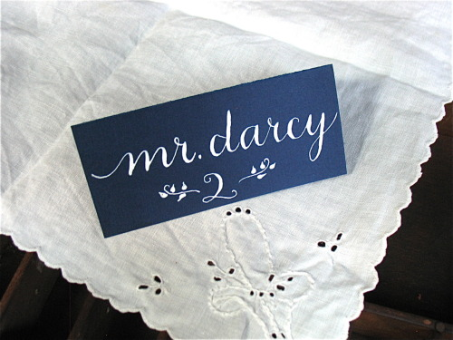 Now seated at Table 2: Mr. Darcy. And Ms. Bennet is…? See more images in my Etsy listing for place card calligraphy in Bennet style HERE.