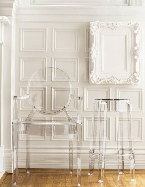 Sometimes I'm a fan, sometimes I'm not… but the ghost chairs by Kartell look nice here. Via here.