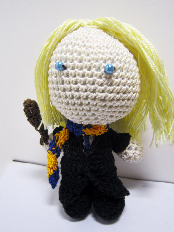 Harry Potter series - Luna Lovegood Crochet Doll by deadcraft on etsy. If Luna is not the character you're looking for, they also have Remus Lupin, Lord Voldemort, Severus Snape, Sirius Black, Fred and George Weasley, Ron Weasley, Hermione Granger, Draco Malfoy and Harry Potter.