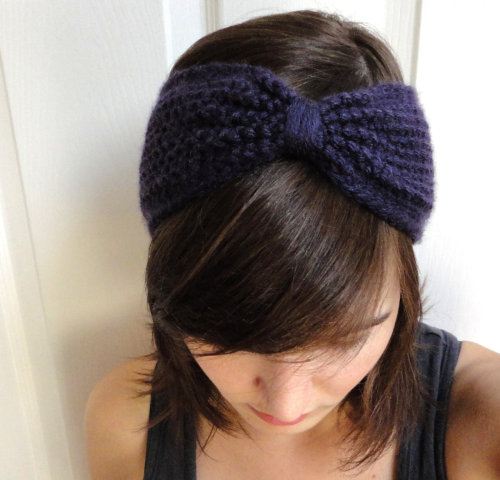 New posting this week! The CUE bow headband has now been adapted into a headband. Custom made to fit in any colour.   Shown in Dark Purple. -Cory U