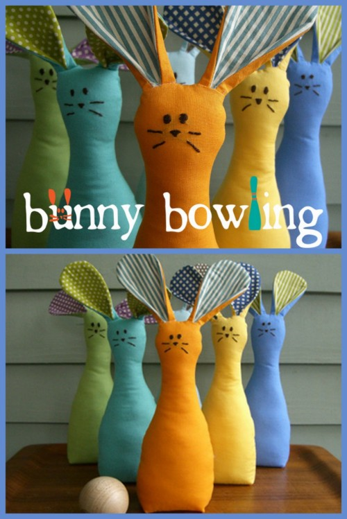 truebluemeandyou:  Bunny Bowling. Why not follow up the Gnome Bowling with Bunnies? Although these bunnies don't seem as happy about being hit with a ball. Or maybe bunnies just don't smile like gnomes. This is from an Etsy Tutorial by Ellen from thelongthread.com. The tutorial is here. The good news is that there are only 6 bunnies to make as opposed to 10 gnomes and the instructions are really clear and these bunnies are really cute. There are 7 steps for making the bunny, none of them hard, and if you can't finish all of them, they are nice on their own :)  It's got to go on the stuff to sew list!