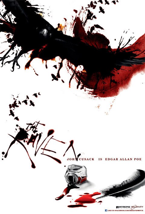 "(via The Raven's First Poster Is Written In Blood - CinemaBlend.com) [Image description: A surprisingly cool poster for the John Cusack IS Edgar Allan Poe (INTENNNNSE) movie The Raven. White background. Top of the poster, a raven swooping in over a dark splash of blood, which itself transitions into a tiny flock of ravens. Middle left, another tiny flock of blood ravens transitioning into a scratchy blood-black murder font: ""THE RAVEN."" Tiny normal type, middle right: ""JOHN CUSACK IS EDGAR ALLAN POE."" (Dude, I thought I was joking about that.) Bottom right, a glass ink bottle turned over, blackish-red blood/ink spilling out; a small pool of blood/ink; and a black quill feather.]"
