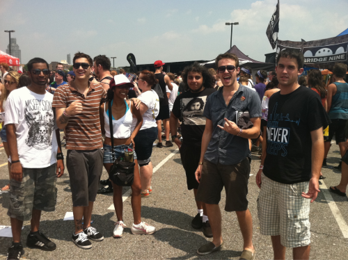 #GPOYW - burning in the sun on the hottest day this year at Camden, NJ Warped Tour with: Chris Ketner, Ant Masington, Eros, John Glenn, Brian McCune, and Dave Parker (who snapped the photo).  Here's a few shots I took that day: left to right- Mike Russo, MC Lars, Weerd Science, Jon Longley, Gangstroph The Baptist from the crowd Terrible Things: Josh Eppard (Weerd Science), Fred Mascherino, Brian Weaver  thecityneversleepsny:  Rollin deep @ warped