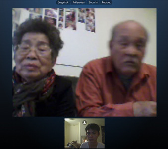 skype with maternal grandparents visiting Australia :P and i accidentally hung up on them >.<. still a skype noob :>