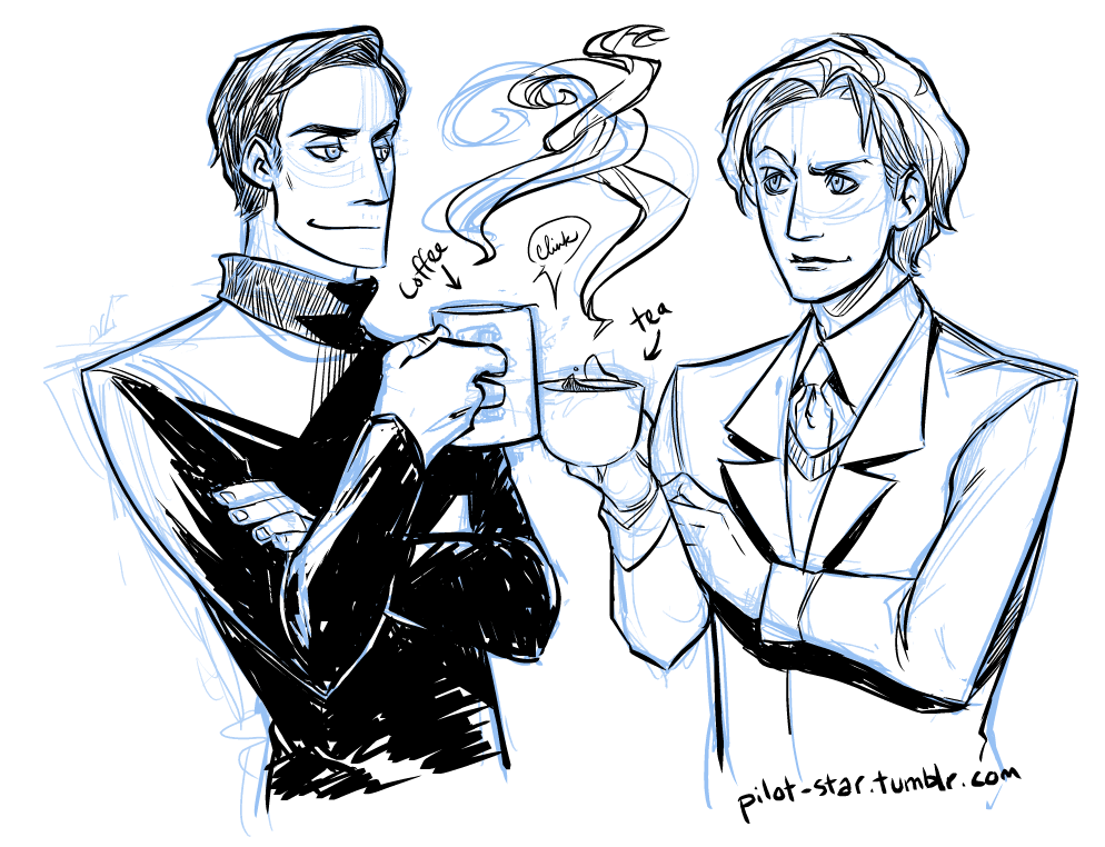 xmfc-art:   Charles and Erik, bonding over their love of hot, caffeinated drinks. Erik seems more like a coffee kind of guy, don't you think so?  He probably drinks espresso shots straight up, the tough guy! (I can't, I tear up and start coughing.  I guess I'll never be a morally and emotionally conflicted overlord of mutants.) I have a bit of time so I wanted to draw some X-Men fanart, which I was too busy to draw before.  But I have no ideas!! ;__; Does anyone have any ideas for me?  Artist: pilot-star