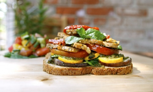 Tempeh Vegetable Stacked Sandwich