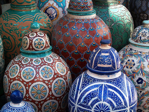 Hand painted pottery storage jars in Marrakesh, Morocco (by -sel)