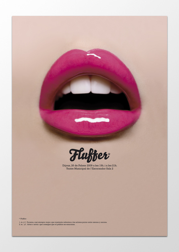 designersof:  Poster for the play Fluffer, a biography of pornographic actress Sascha Grey. © SOPA Graphics