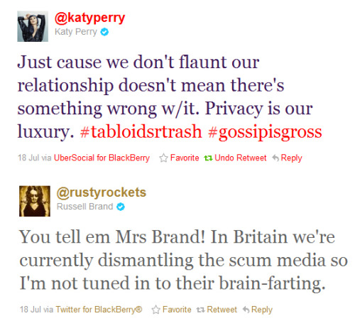 "katyperryandrussellbrand:  ""You tell em Mrs Brand"" omg stop being so adorable please."
