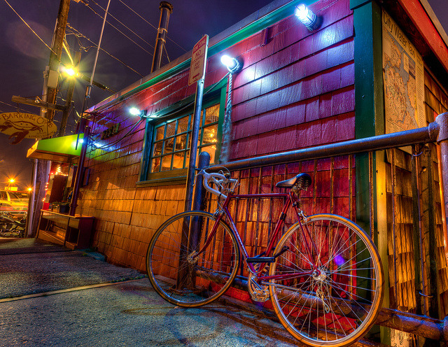 Bike at the Barking Crab, Boston A bicycle leans against the wall at the Barking Crab restaurant in Boston, MA.