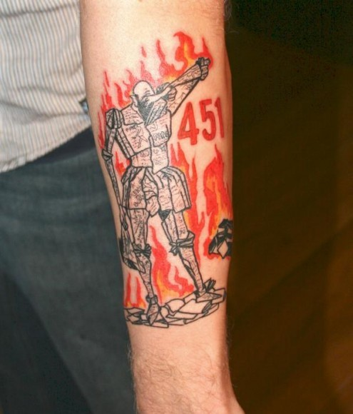 flawedandfree:  Want.  Tattoo inspired by Bradbury's Fahrenheit 451.