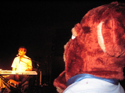 A walking, breathing, stuffed bear watches Stairs keyboardist Sean Spada with a careful gaze.