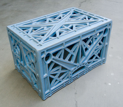 Not what you think: A ceramic milk crate sculpture by Matthias Merkel Hess.