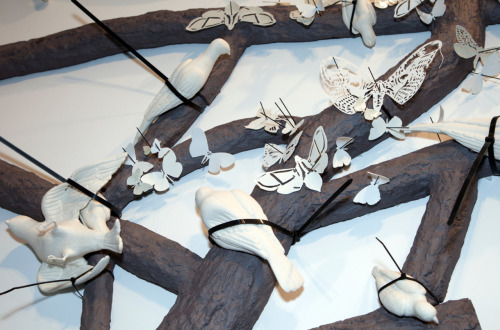 Overthrown: Mia Mulvey, Mast Year (detail), 2011. Stoneware, porcelain, cable ties, and pins. Photo by Jeff Wells.