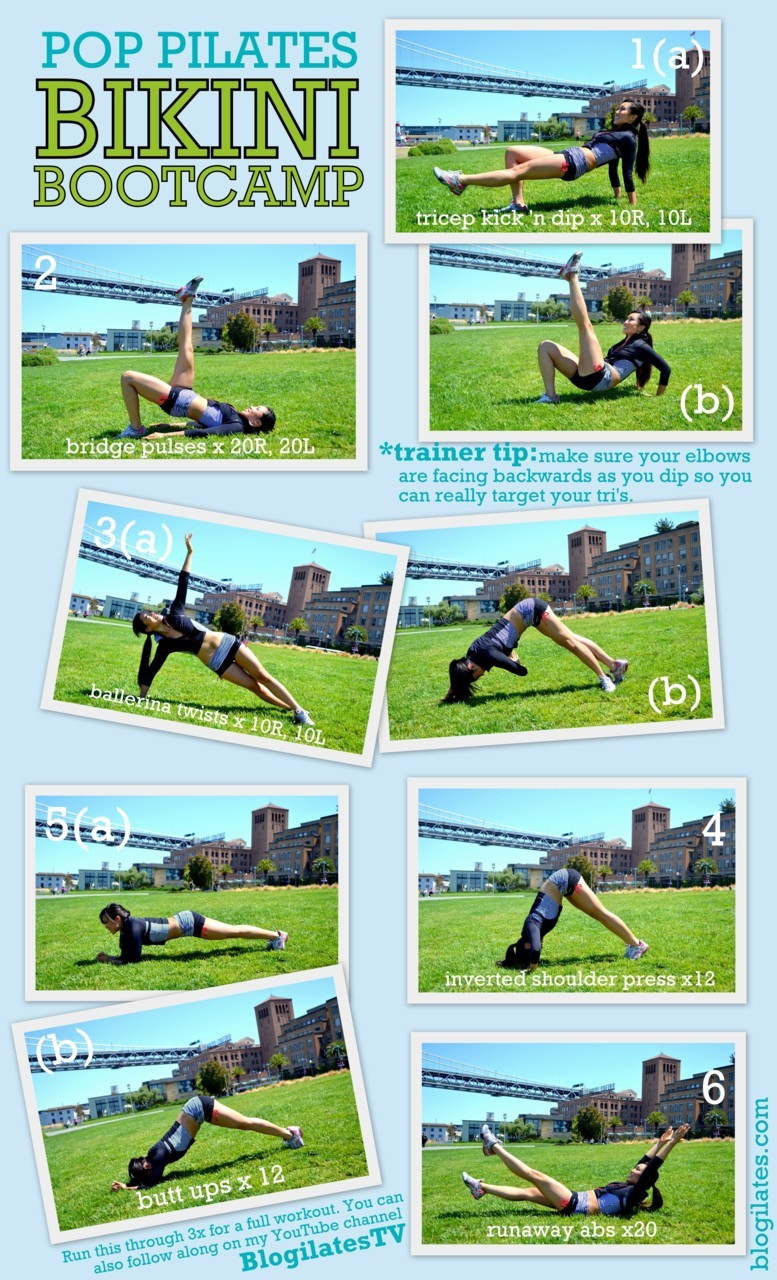 "blogilates:  1. Tricep Dip 'n Kick: Targets: Triceps, legs  A. Begin with your fingertips facing forward with your butt raised. Lift your right leg off the floor, keeping it parallel to the ground.  B. Kick right leg straight up as you bend your elbows back. Then return to starting position. Try 10 with the right leg and 10 with the left! Modification: Do not kick! Keep both feet on the ground as you perform just the tricep dip part of the move. 2. Bridge Pulse: Targets: Butt, quadriceps Lie down on your back and raise yourself into a bridge position with feet side by side. Keeping your butt up, raise your right leg towards the ceiling. As the leg stays extended, lower your butt halfway to the floor and pulse right back up. Try 20 quick pulses on the right and 20 on the left! Modification: Perform this move in a regular bridge with both legs hip width apart, feet on the floor. 3. Ballerina Twist: Targets: Obliques A. Begin in a side plank with hand directly under your shoulder and legs full extended. Raise your right arm up and elongate your fingers like a ballerina. B. Pretend you a ""threading a needle"" and bring your right hand through the ""eye of the needle"" underneath your oblique as you raise you pike your hips up. Return to side plank. Try twisting 10 times on the right and 10 times on the left! Modification: If your shoulder or wrist hurts, try this move on your elbow. You can also modify by doing the side plank on your knees instead of your toes. 4. Inverted Shoulder Press: Targets: Shoulders Start in plank and walk your hands towards your feet until you can't come any closer without bending your knees. Look at your feet. Now do a pushup. Try 12 pushups. Modification: The farther out your hands are from you feet, the easier. 5. Butt Ups: Targets: Core strength A. Begin in plank on the elbows, keeping your tailbone tucked and your belly button sucked in towards your spine. Make sure your back is flat! B. Then, using your core, pull your abs up and your pike your butt up into the air. Hold, then release back into plank. Try 12 butt ups. Modification: Do the plank on your knees instead, and for the pike simple press your butt back instead of up similar to a Child's Pose. 6. Runaway Abs: Targets: Abs Keeping your belly button sucked into your spine and your low back pressed into the floor, extend your arms long behind you head and your legs long and pointed in front of you. Your shoulders should be off the mat. Now begin ""running"" - your feet should flutter up and down quickly. Try 20 flutters. Modification: Keep your knees slightly bent with your head down, hands underneath your tailbone for low back support. Follow along on YOUTUBE: http://www.youtube.com/watch?v=4FbDOoOO2cY Clothing sponsored by BEBE SPORT!"