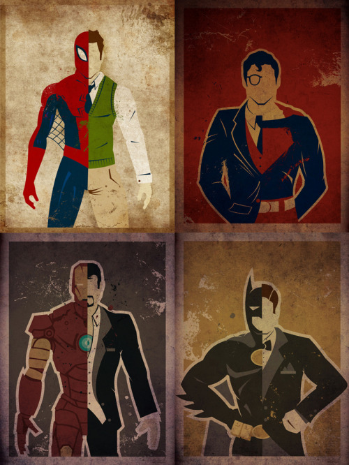 Superheroes Art Print - by Danny Haas Twitter || Facebook || Herochan Single versions Spider-Man | Superman | Iron Man | Batman