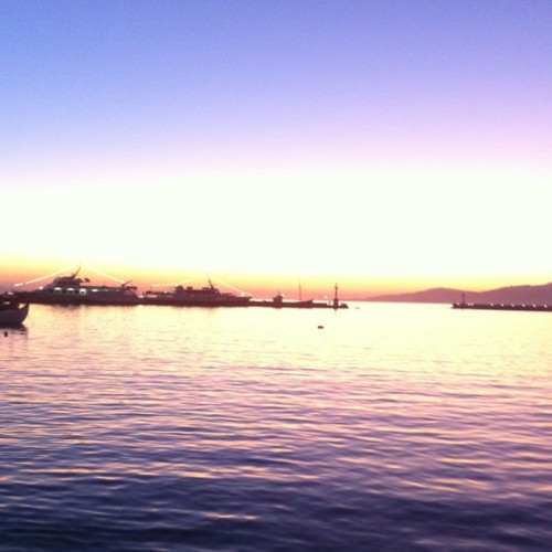 Sunset, Mykonos harbor. #nofilter (Taken with instagram)