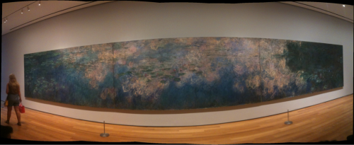 Six photos stitched together of Monet's Water Lilies at MOMA in NYC.