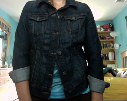 denim jacket from old navy, $29.50 but I had a 25% of coupon so it was cheaper : )