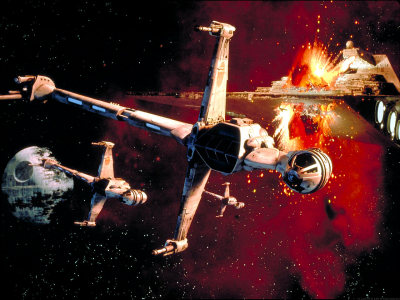 svalts:  B-Wings // by ScreenThemes A trio of B-wing Starfighters flee from an exploding Imperial II-class Star Destroyer during the Battle of Endor