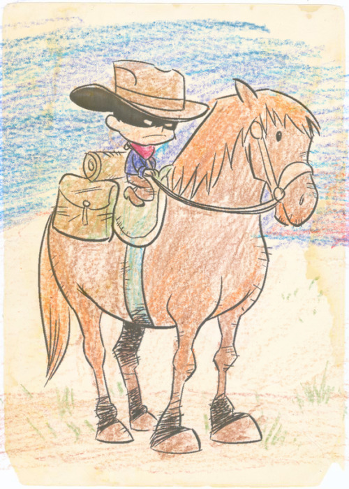 Cow Boy crayon test by Chris Eliopoulos. (We originally thought about doing Cow Boy in full crayon.)