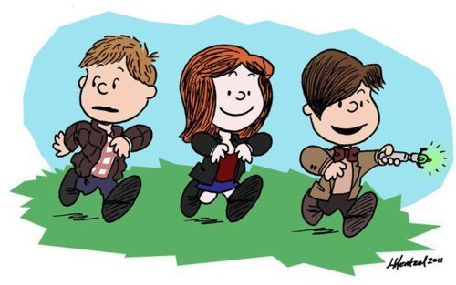 Peanuts and Doctor Who in one awesome picture?  YES.