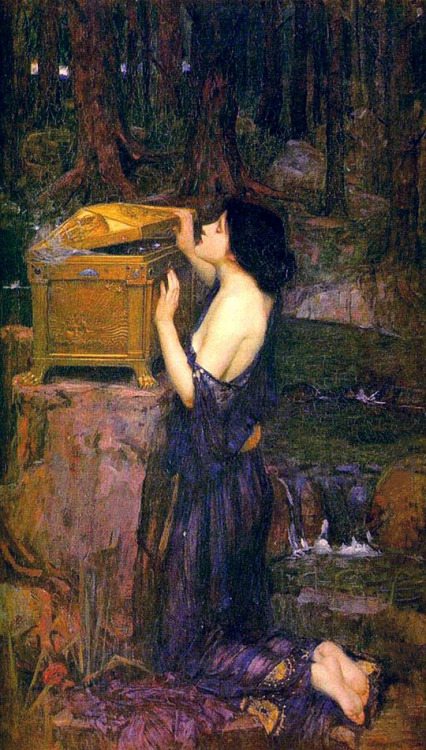 worldpaintings: 1896 John William Waterhouse (English 1849-1917) ~ Pandora, oil on canvas, 91 × 152 cm, private collection.  According to Greek mythology, Pandora was the first woman ever to be created on earth. At the request  of Zeus she was blessed with  every gift the gods could grant - from beauty to persuasion. Zeus then presented her with a box which she was not to open under any circumstance. According to the myth, Pandora opened the box, releasing all the evils of mankind which then spread all over the earth. Only Hope was left inside once she had closed the box again.
