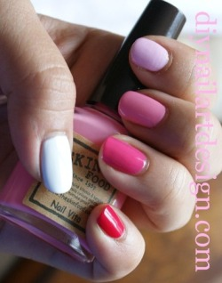 Pink Ombre Nails using all Skin Food Nail Polishes. diynailartdesign.com