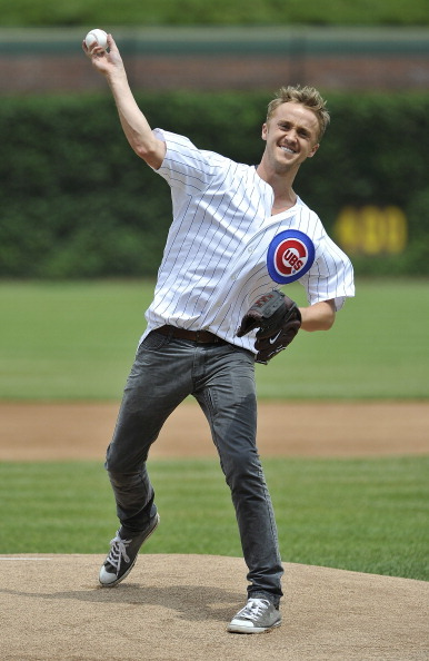 sportspage:  afterallthistim3:  d621:  chaos-emerald:  Tom Felton throwing the first Pitch at Wrigley Field in Chicago 7/22  Love it!  More reason to love him.  With that delivery he'll tear his rotator cuff in no time.  Let's get the pitching coach to work on his mechanics.