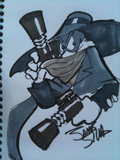 suspendersofdisbelief:  From my SDCC Pulp Heroes Sketchbook, The Shadow That Flaps in the Night by James Silvani (Darkwing Duck)!