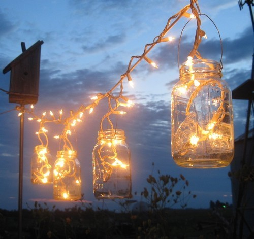 We love the idea of using ball jars to hold Christmas lights for your