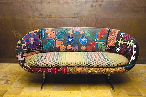 thomforsyth:  The Talia Sofa…. by Bokja.  Vintage lakki are sewn together over a modern form.