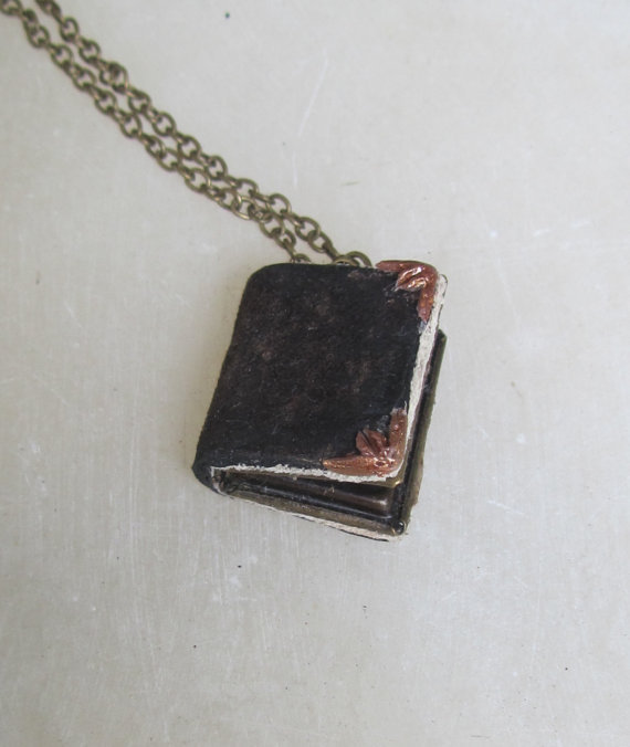 Tom Riddle's Diary mini book locket, Harry potter reminiscent Leather journal pendant necklace jewelry by ChanceryLane on etsy