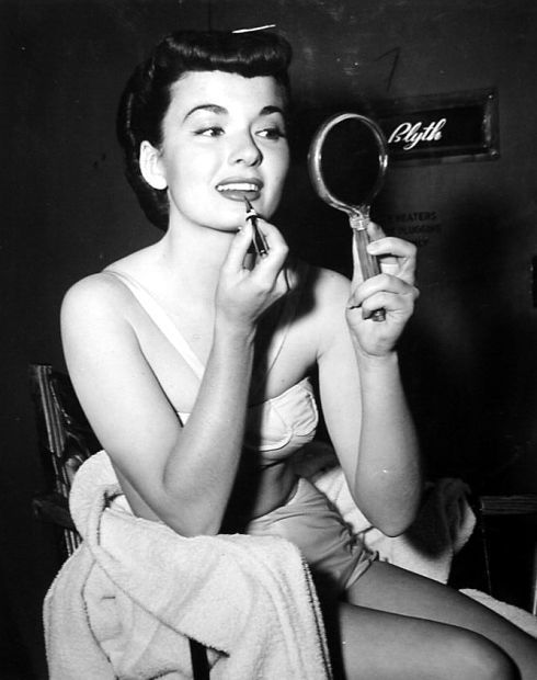 Ann Blyth perfects her lipstick - 1951 Happy Birthday, August 16th, 1928 (and still very much with us)! <3