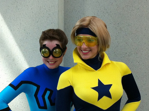 marcusto:  contextisfortheweak:  Blue Beetle/Booster Gold by GoofyGoof on Flickr.  WOO! Chick Booster and Blue Beetle!  This is so adorable!!