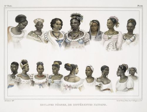"afrodiaspores:  Jean-Baptiste Debret (1768 – 1848), ""Esclaves nègres, de différentes nations (Black slave women of different [African] nations),"" 1834-1839  The dress of both enslaved and freed Afro-Brazilians was linked to their African past while also incorporating European and Brazilian elements. However, African dress elements are not indicators of freedom or slavery, as there were many free Africans in Brazil. African women's clothing of [the nineteenth century] follows that of other women, who are all shown wearing outfits made up of bodices and skirts. Slaves' clothes were often cast-offs from women of the house. Turbans were commonly seen in slave and freed populations throughout the Caribbean and Americas, suggesting African origins. However, European and Muslim influences must also be considered. The artist Jean-Baptiste Debret recorded African slave women in Brazil as having plaited and adorned hair, similar to African styles.   This is very, very cool.  It is so rare to see depictions of Africans, slaves, or practially any minority in art from this period.  I think their hairstyles and headdresses are magnificent!"