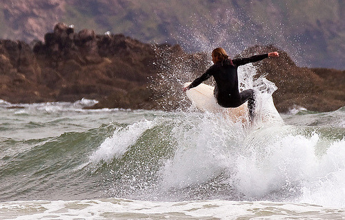 Surfing Bantham (by John L Downes)