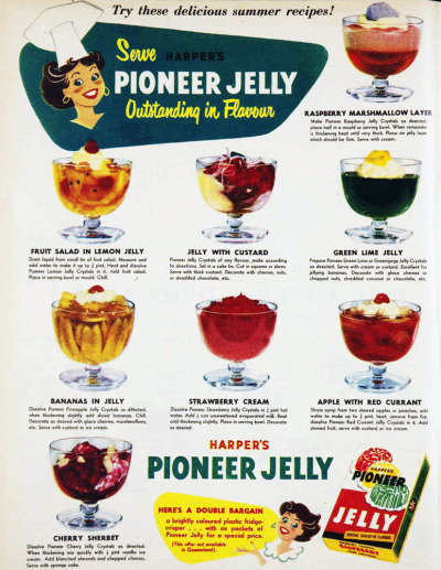 vivatvintage:  Serve Harper's Pinoeer Jelly - outstanding in flavour. 1955.  Pioneer Jelly